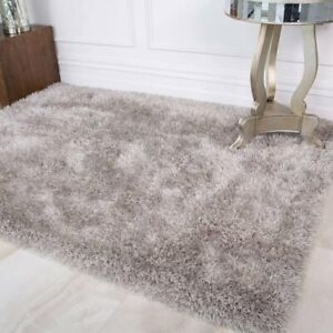 Silver Gray Shaggy Rugs Thick Deep Anti Shed Soft Warm Bed Dining Room Area Rug