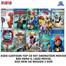 KIDS CARTOON TOP 10 HIT ANIMATION MOVIES, LEGO MOVIE, BIG HERO 6, RIO NEW R2 DVD