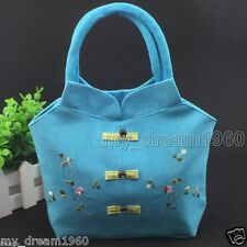 Women's Blue Handbag Shoulder Bag Linen Casual Tote Shopping Bag Purse New