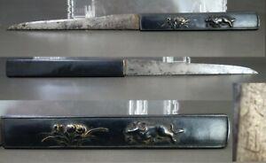 Kozuka mini sword Tendo sign Kokinko kiku cattle samurai sword fitting tsuba Edo