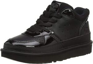 Womens UGG Highland Lace Up Sneakers - Black Leather, Size 9 [1111336]