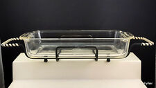 "Anchor Hocking Fire King 410 Crystal Clear Casserole w Metal Stand 10-1/8"" Baker"