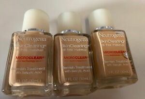 3 NEUTROGENA Skin Clearing MAKEUP FOUNDATION ~ CLASSIC IVORY # 10