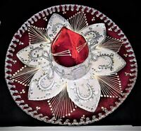 "Authentic Pigalle Mexican Sombrero Mariachi 23"" Hat, Red Velvet Silver Sequins"