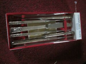 "VINTAGE  COMMUNITY PLATE HAMPTON COURT PATT 6 TEA BUTTER KNIVES 6.95"" GLEAMING"