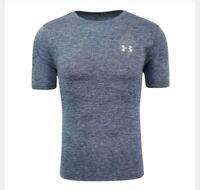 Under Armour Short Sleeve Shirt Mens Size Medium NEW Athletic Blue Gray Logo