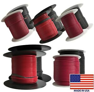 (10) Black & Red 10 AWG - 18 Gauge Primary Wire 100 FT Spool Stranded Copper USA