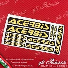 Kit 10 Adesivi Sponsor Tecnici ACERBIS Auto Moto Cross Black e Yellow