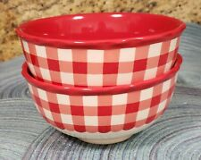 THE PIONEER WOMAN RED GINGHAM CERAMIC BOWLS SET OF 2 NEW