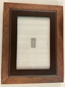 "Swing Acacia Wood & Leather Picture Frame, 4x6""  NEW"
