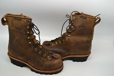 "Mens 9 M Chippewa Lace-Up Waterproof 8"" Logger WORK Boot Steel Toe Brown 73101"