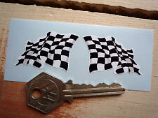 CHEQUERED Wavy FLAG Style 40mm Handed STICKERS Race Rally Car Bike Check Checked