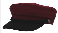WINE COLOUR CAPTAIN 'S BRETON FIDDLER CAP ANCHOR BUTTONS