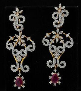14K 2-tone gold 5.74CT diamond & ruby floral cluster jumbo dangle earrings
