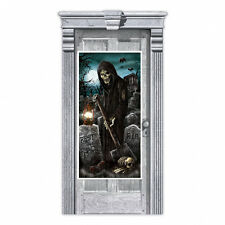 Halloween Party Door Banner Decoration Cemetery Grim Reaper Grave Digger