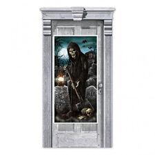 Halloween Party Door Banner Decoration Cemetery Grim Reaper Grave Digger