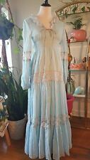 Baby Blue Gunne Sax 1970s Hippie Maxi Dress Lace