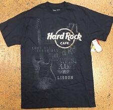 New HARD ROCK CAFE Lisbon NAVY Short Sleeve Graphic T-Shirt Medium M NWT