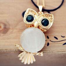 Women Rhinestone Crystal Owl Pendant SweaterChain Necklace Jewelry  AU