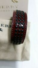 BURBERRY LEATHER CUFF BANGLE BERRY RED BLACK GROMMETS NEW TAGS UNISEX
