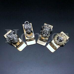 3D Custom Made Money Clip Bronze Brass Credit Card Money Holder Vintage Skull