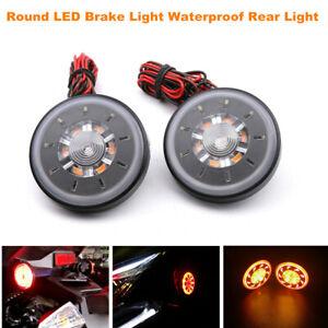 Round LED Tail Brake Stop Light Side Turn Signal Lamp for Dirt Bike Motorcycle