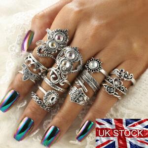 15 Pcs/set Bohemian Midi Finger Ring Vintage Punk Boho Knuckle Rings Jewellery