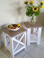 NEW Handmade Hamptons style PAIR Rustic Side Tables/Coffee Tables