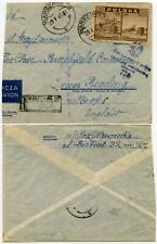 POLAND 1946 CENSORED AIRMAIL REGISTERED CUT DOWN to GB