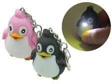 Lovely Penguin Key Chain Ring with LED Light and Animal Sound Kid Toy gift