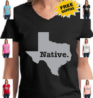 Texas Native Texan Lone Star State Pride Longhorn Tejas Womens V Neck T Shirt