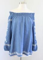 J Jill Denim Chambray Floral Embroidered On / Off the Shoulder Blouse Top Sz XS