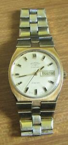 Used Mans Rotary Automatic 21 Jewels Swiss Made Gold Coloured Date Wrist Watch