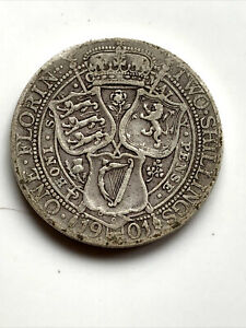 1901 QUEEN VICTORIA GREAT BRITAIN SILVER FLORIN TWO SHILLING COIN