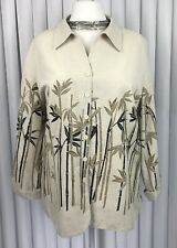 Silkland Size 26 4XL Silk Jacket Top Cream Gold Oriental Bamboo Design Lined