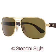 Ray-Ban Rectangular Sunglasses RB3524 112/73 Brushed Gold/Brown 3524