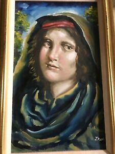 Vintage JOSEF M. KOZAK Acrylic Original Artwork PORTRAIT Painting Framed Signed