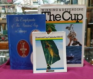 VINTAGE AMERICAS CUP BOOK CALENDAR & STAMP BOOK 1986 LOT OF 3