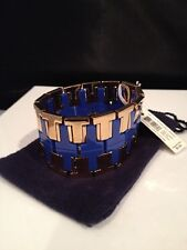 New With Tags! Tory Burch Wide T Metal & Resin Stretch Bracelet - Retail $195