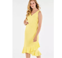 Lemon Yellow Fitted Crepe Shift Dress With Frilled 'Kickflare' Hemline Size 16