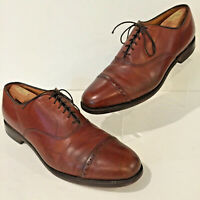 ALLEN EDMONDS Byron Mens 13D BROWN Leather Perf CAP Toe Dress OXFORDS Shoes USA!