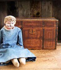 Late 1800s Primitive Antique Doll Trunk Original Lithograph Paper