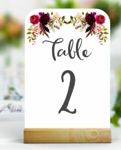 1 x Wedding Table Numbers Names Cards