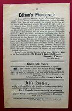 1879 EDISONS PHONOGRAPH - Vorläufer Grammophon Plattenspieler