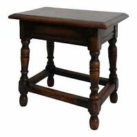 Antique English Joined & Turned Oak Joint Stool