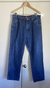 Wrangler Mens Blue Denim Jeans Size W 35 Cowboy Cut Relaxed Jeans 31NWZPW