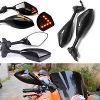 Universal Motorcycle LED Turn Signal Mirrors For HONDA SUZUKI GSXR 600 750 1000