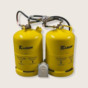 Gaslow R67 11kg Refillable Motorhome LPG Twin Cylinder Kit ( Rubber Hoses )