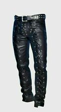 Real Men's Leather Pants Front & Back Laced Up Black Bikers 100% Cowhide Leather