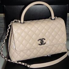 CHANEL CAVIAR QUILTED FLAPBAG WITH COCO HANDLE LIGHT BEIGE